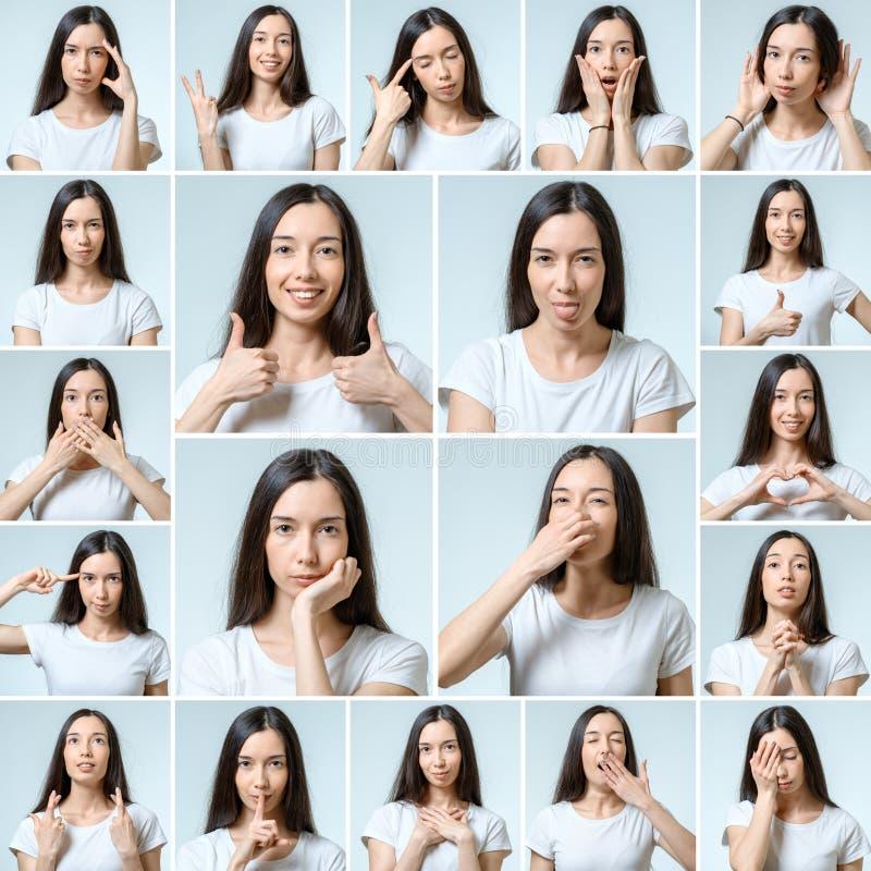 Collage de la muchacha hermosa con diversas expresiones faciales foto de archivo