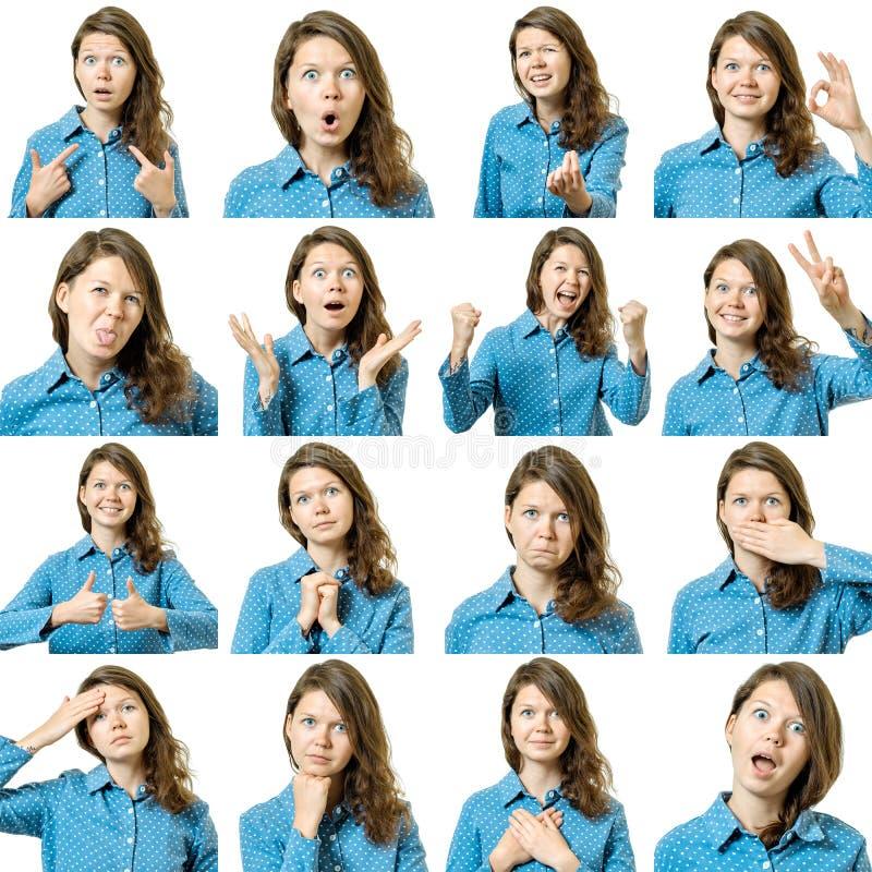 Collage de la muchacha hermosa con diversas expresiones faciales imagen de archivo