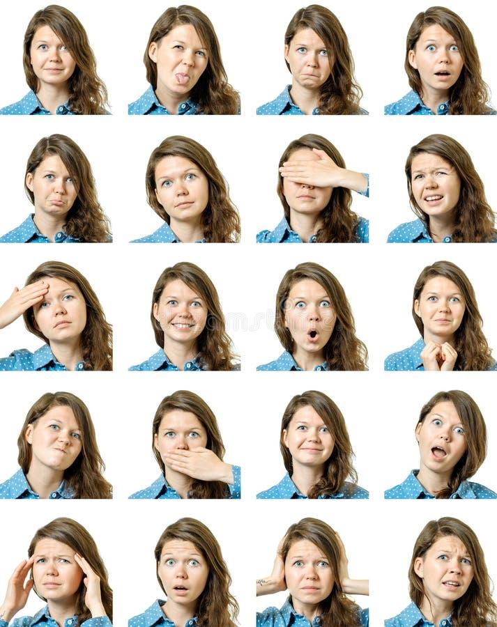 Collage de la muchacha hermosa con diversas expresiones faciales fotografía de archivo