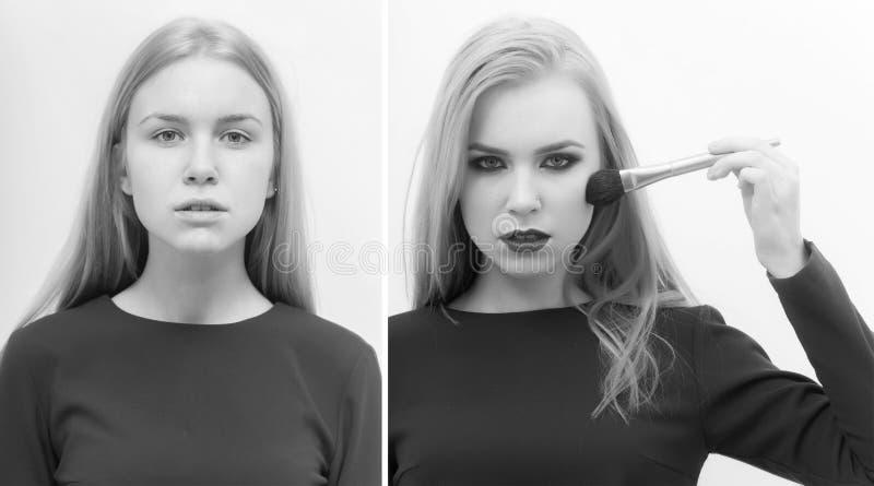 Collage de la muchacha, retrato de la comparación de la mujer con y sin maquillaje imágenes de archivo libres de regalías