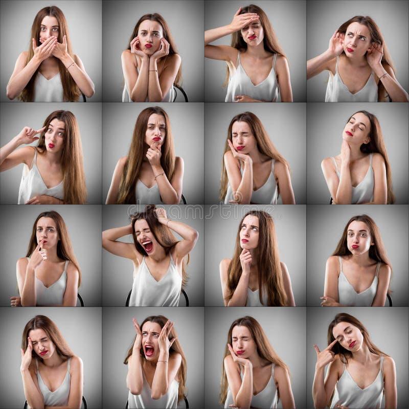 Collage de la mujer con diversas expresiones faciales imagenes de archivo