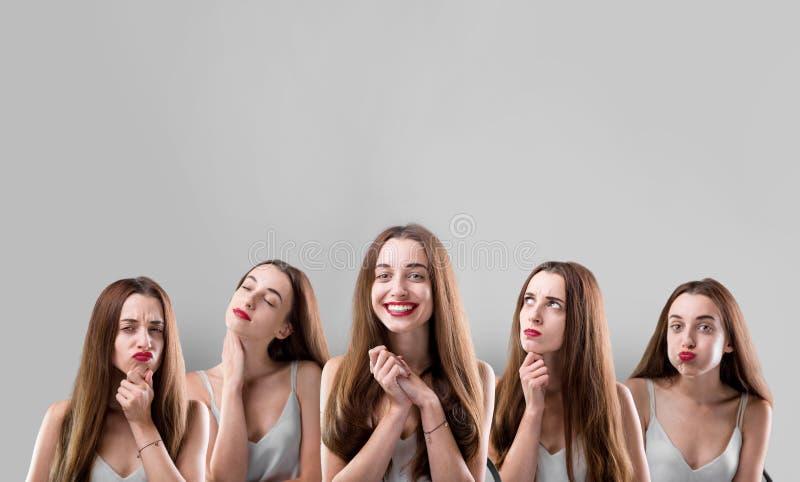Collage de la mujer con diversas expresiones faciales foto de archivo