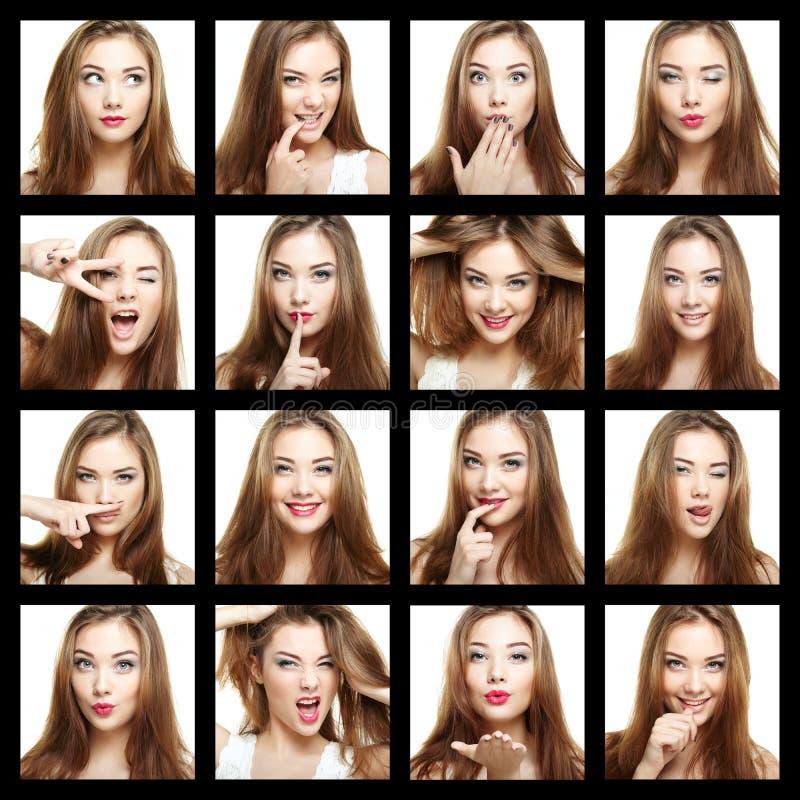 Collage de la mujer de la cara de la belleza Hermoso de sonrisa de la chica joven imagen de archivo