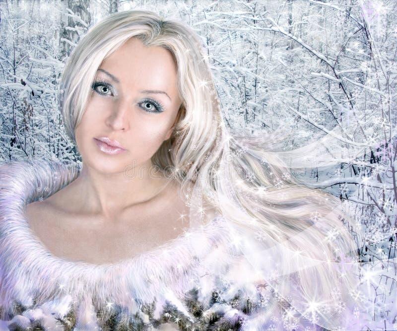 Collage de la mujer del invierno foto de archivo