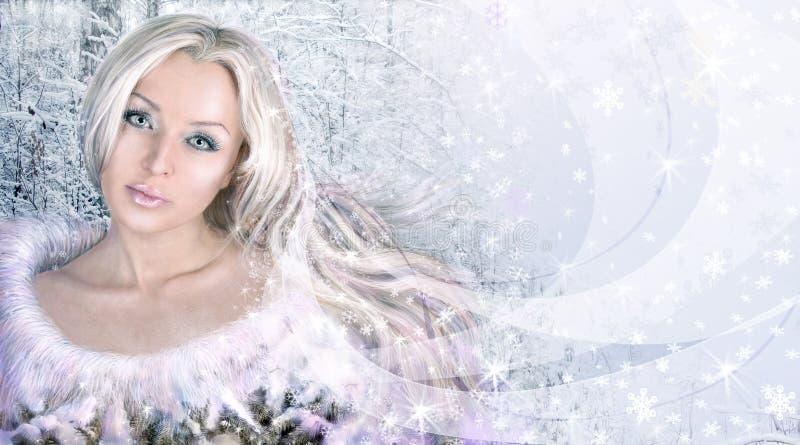 Collage de la mujer del invierno.   imágenes de archivo libres de regalías