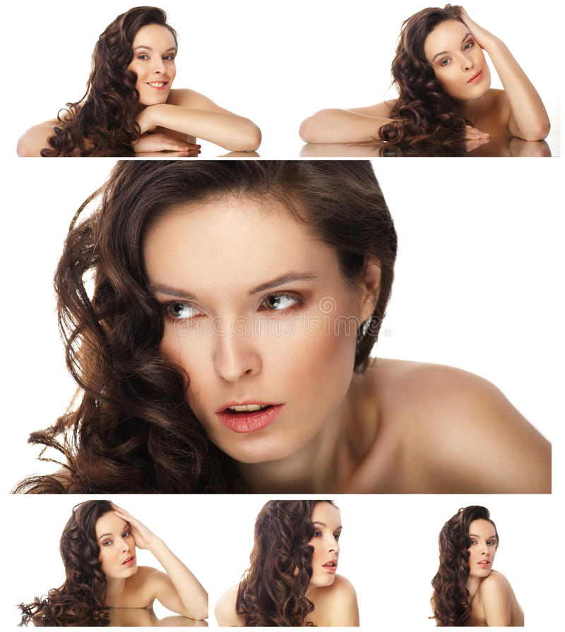 Collage de la mujer hermosa de los retratos aislada fotografía de archivo