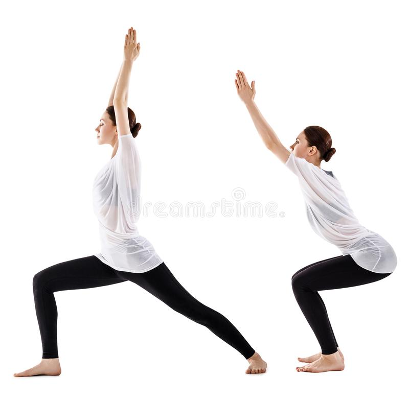 Collage de la mujer joven que hace ejercicio de la yoga imagen de archivo libre de regalías