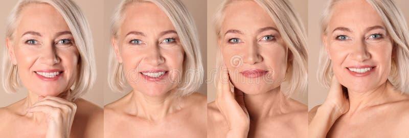 Collage de la mujer madura con la cara hermosa imagen de archivo
