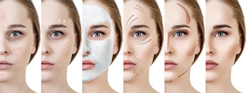 Collage de la mujer que aplica maquillaje paso a paso fotos de archivo
