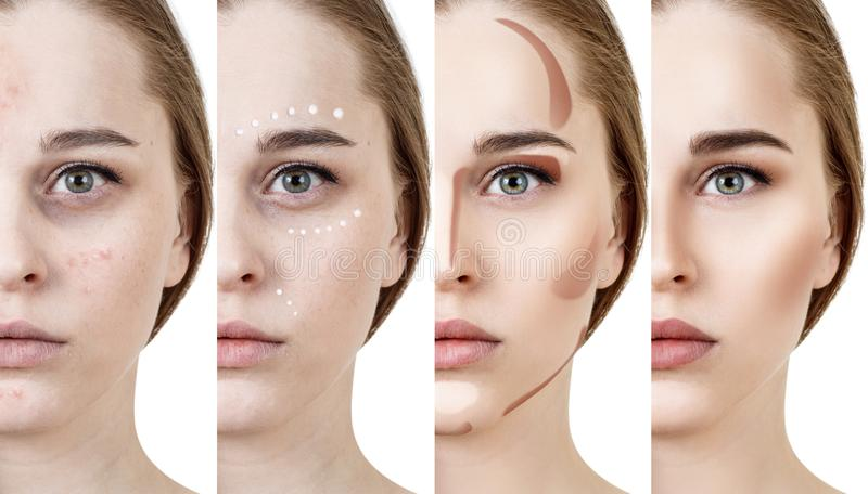 Collage de la mujer que aplica maquillaje paso a paso fotografía de archivo libre de regalías