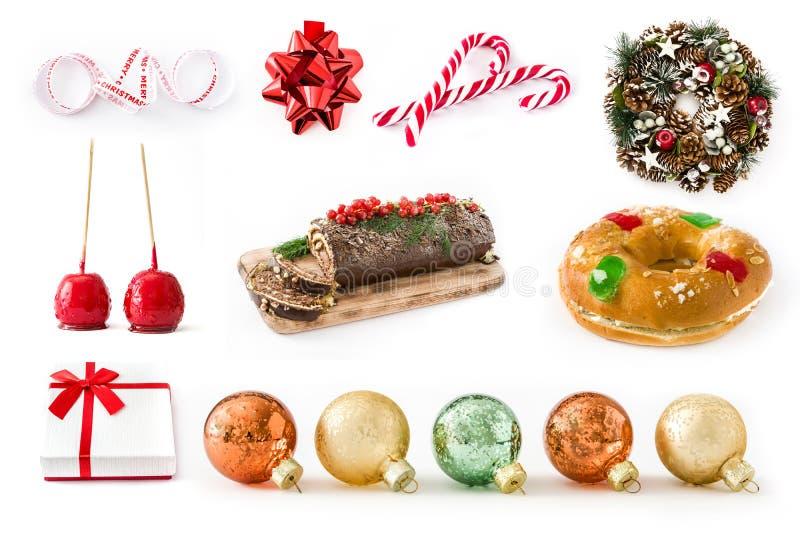 Collage de la Navidad: Comida de la Navidad y ornamentos de la Navidad foto de archivo