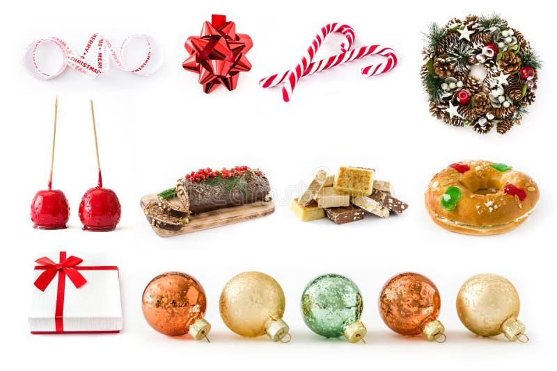 Collage de la Navidad: Comida de la Navidad y ornamentos de la Navidad fotos de archivo