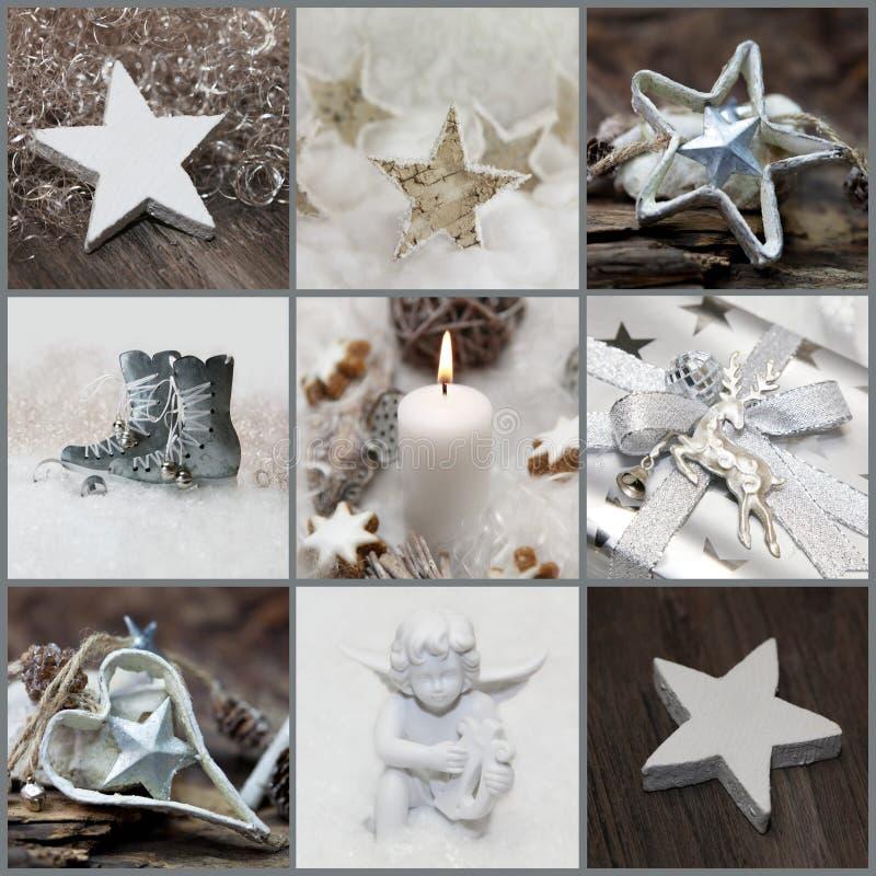 Collage de la Navidad con blanco, plata y la decoración gris fotos de archivo
