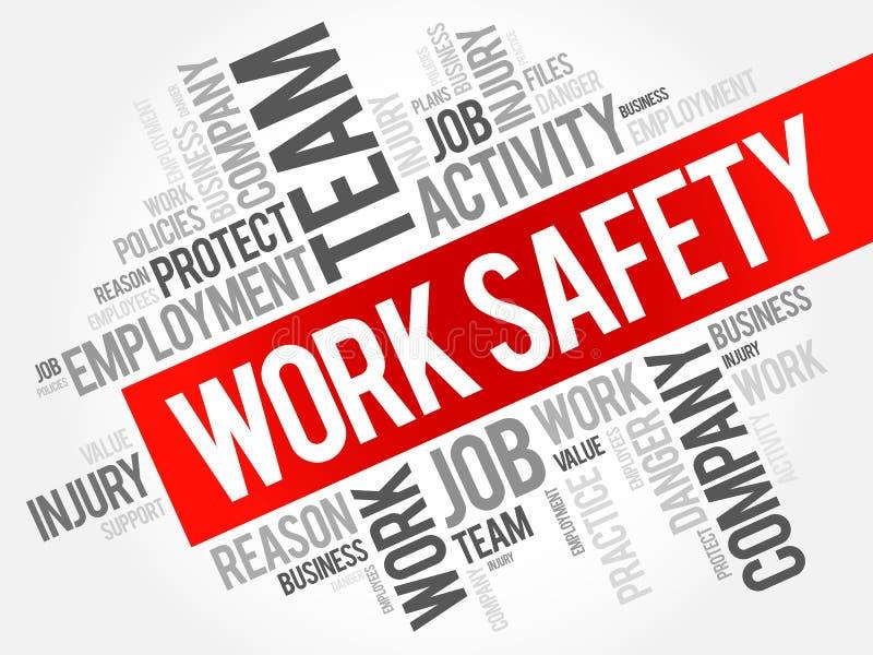 Collage de la nube de la palabra de la seguridad del trabajo ilustración del vector