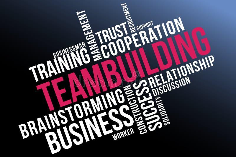 Collage de la nube de la palabra de la formación de equipo, fondo sano del concepto ilustración del vector