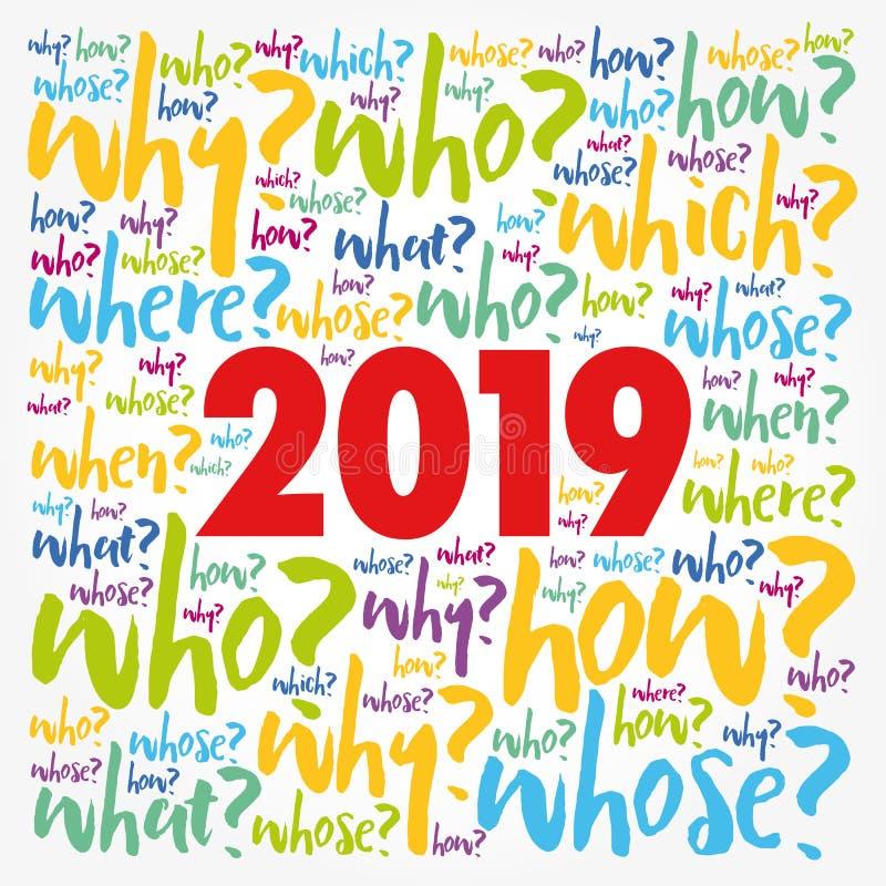 collage 2019 de la nube de la palabra de las preguntas del problema libre illustration