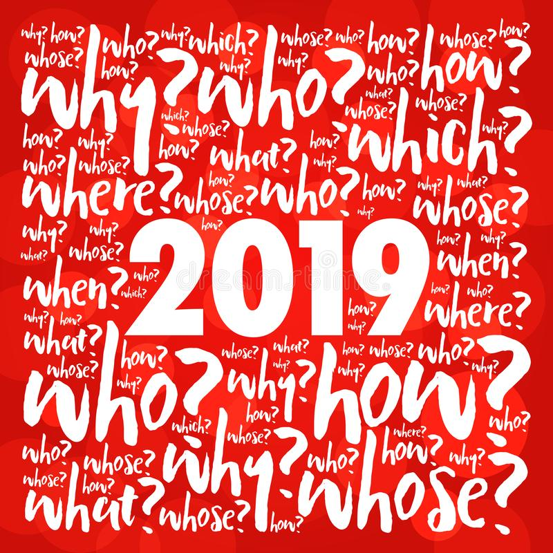 collage 2019 de la nube de la palabra de las preguntas del problema ilustración del vector