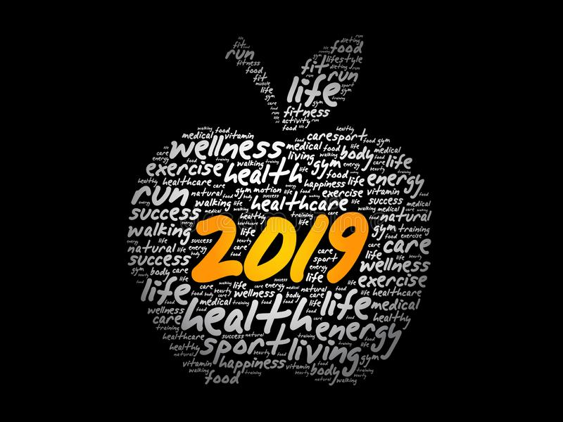 collage 2019 de la nube de la palabra de la manzana ilustración del vector