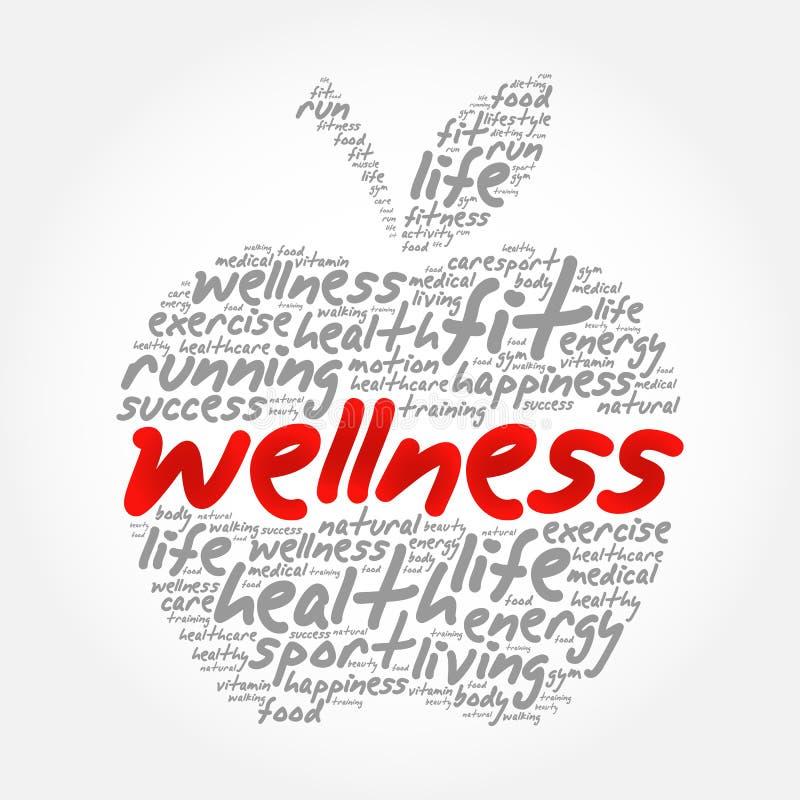 Collage de la nube de la palabra de la manzana de la salud ilustración del vector