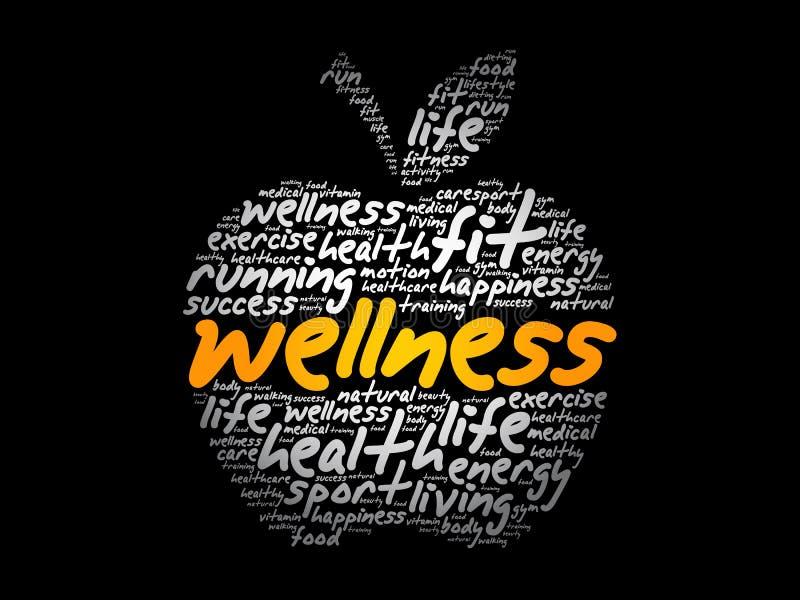 Collage de la nube de la palabra de la manzana de la salud stock de ilustración