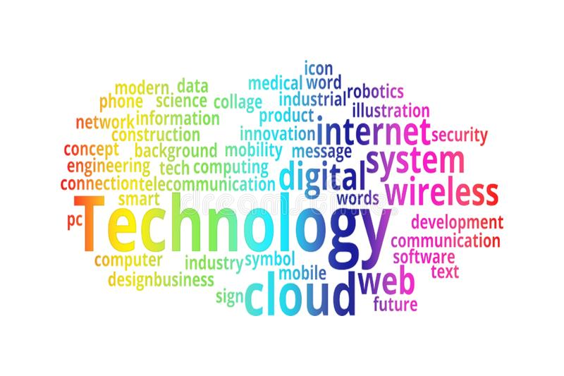 Collage de la nube de la palabra de la TECNOLOGÍA libre illustration