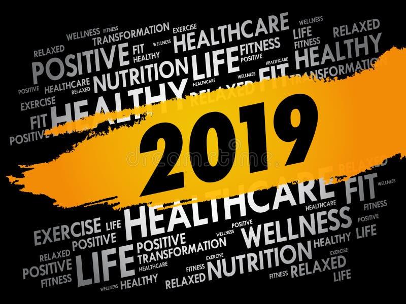 collage de la nube de 2019 palabras, concepto de la salud stock de ilustración