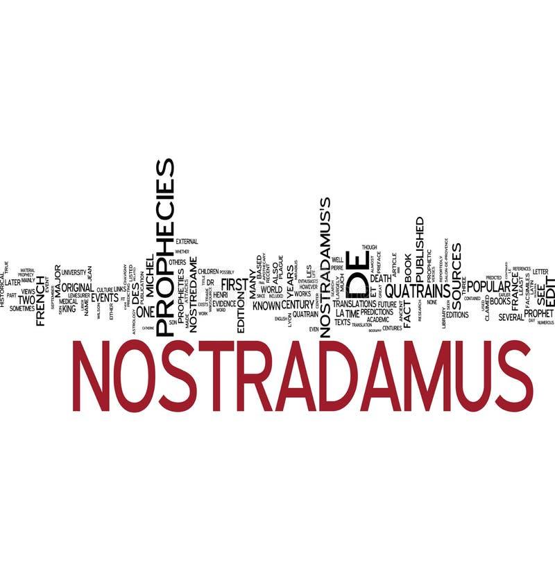 Collage de la palabra de la profecía de Nostradamus ilustración del vector