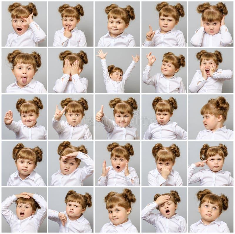 Collage de la pequeña muchacha linda con diversos emociones y gestos foto de archivo