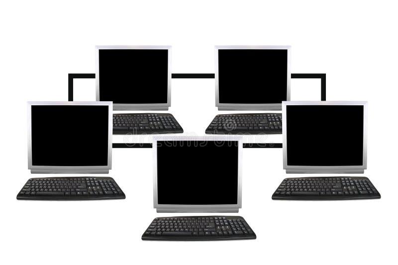 Collage de la red de ordenadores cinco imagen de archivo libre de regalías