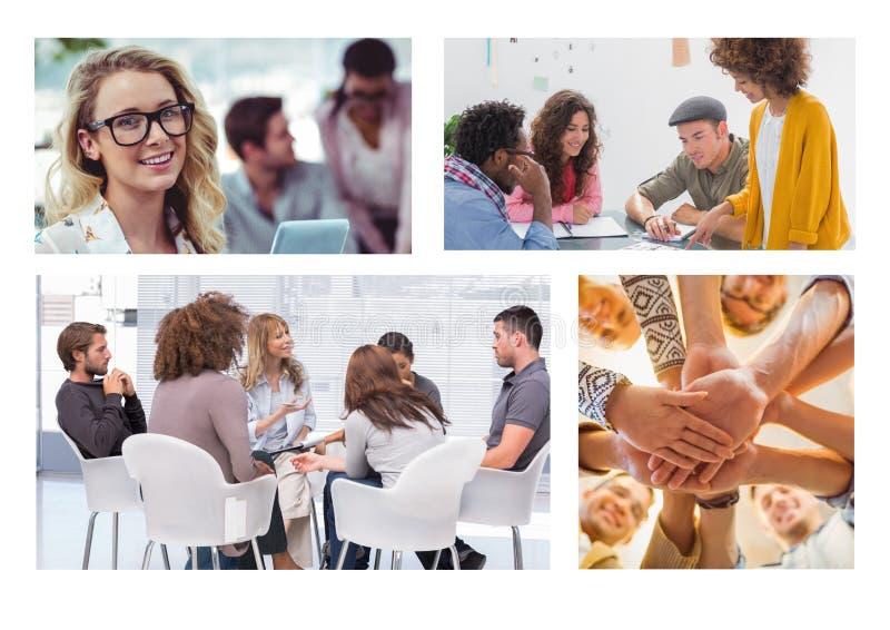 Collage de la reunión del trabajo en equipo fotos de archivo libres de regalías