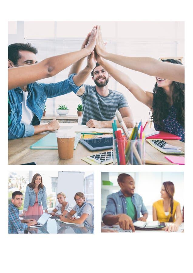 Collage de la reunión del trabajo en equipo imagen de archivo