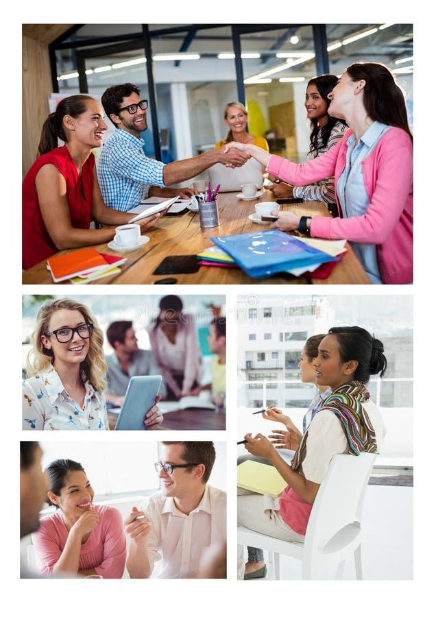 Collage de la reunión del trabajo en equipo foto de archivo