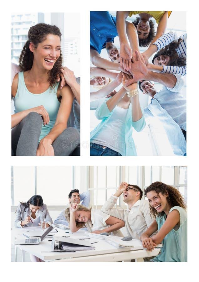Collage de la reunión del trabajo en equipo imagenes de archivo