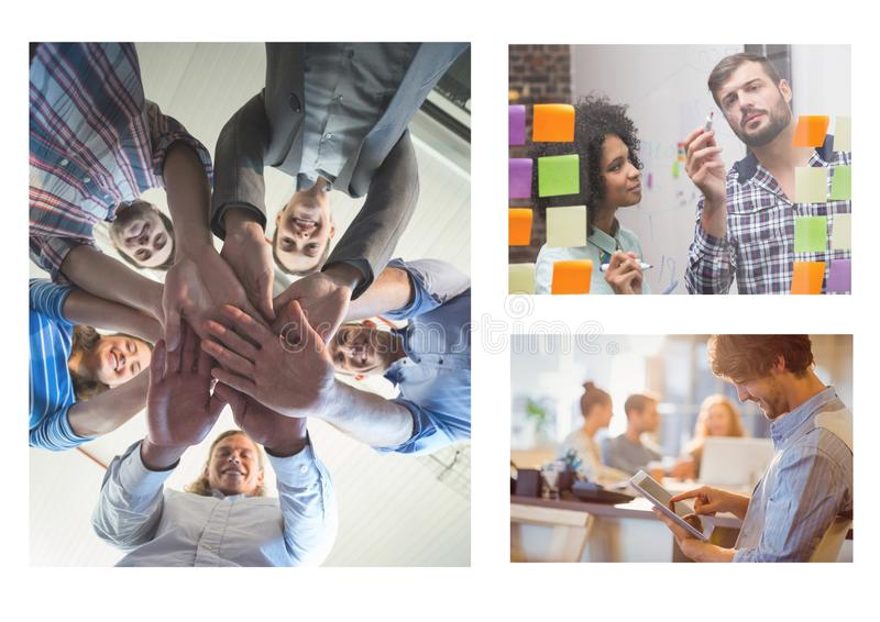 Collage de la reunión del trabajo en equipo imagen de archivo libre de regalías