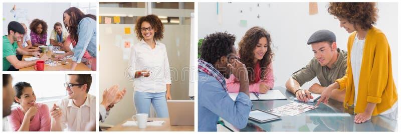 Collage de la reunión del trabajo en equipo foto de archivo libre de regalías