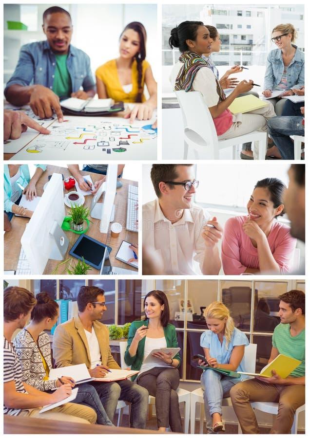 Collage de la reunión del trabajo en equipo fotos de archivo