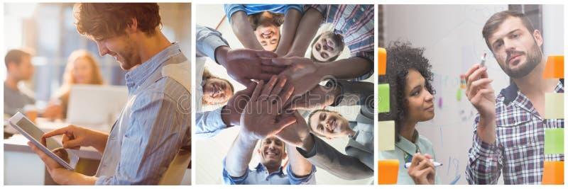 Collage de la reunión del trabajo en equipo fotografía de archivo libre de regalías