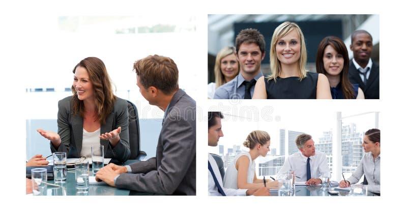Collage de la reunión de negocios del trabajo en equipo fotografía de archivo