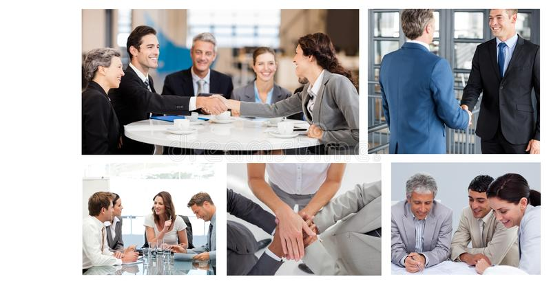 Collage de la reunión de negocios del trabajo en equipo foto de archivo libre de regalías