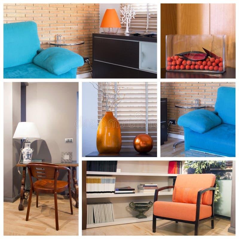 Collage de la sala de estar imagenes de archivo