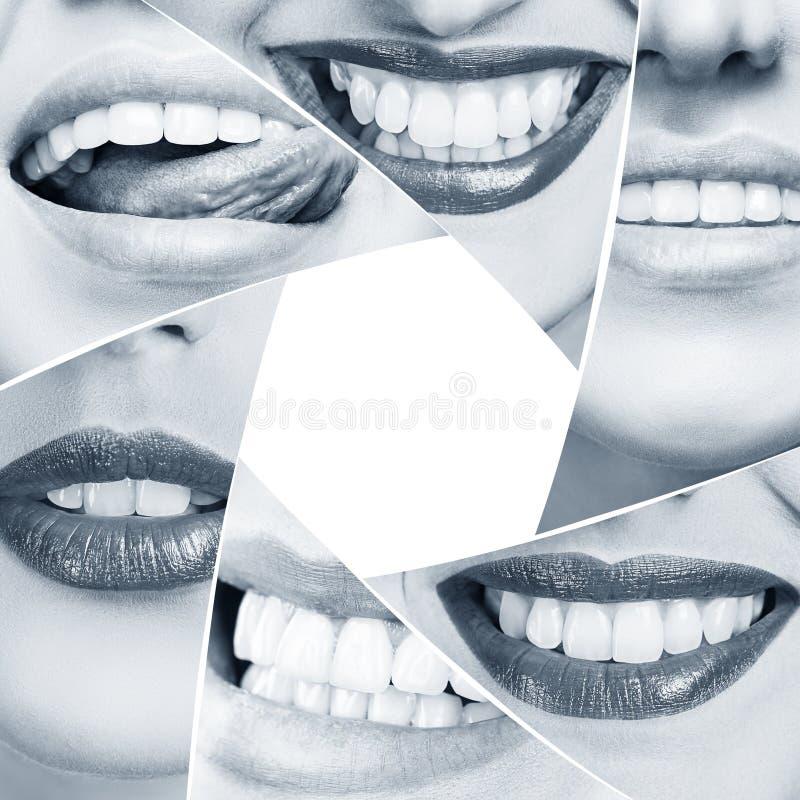 Collage de la sonrisa sana en forma del diafragma fotos de archivo