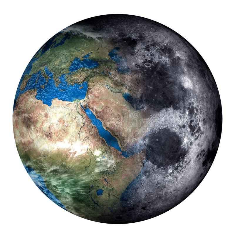 Collage de la tierra y de la luna ilustración del vector