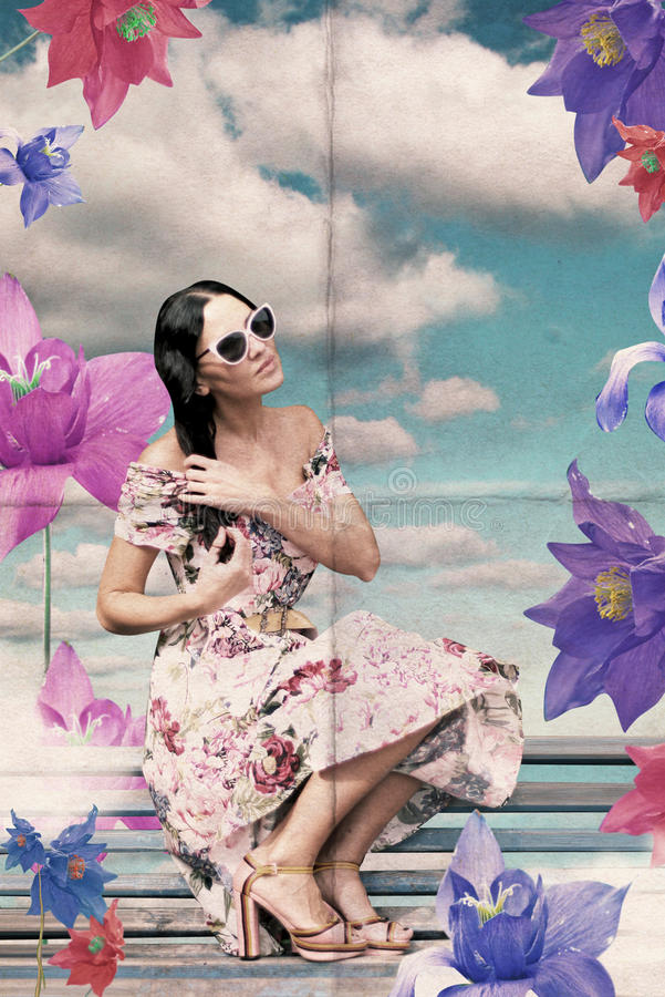 Collage de la vendimia con la mujer de la belleza con las flores imágenes de archivo libres de regalías