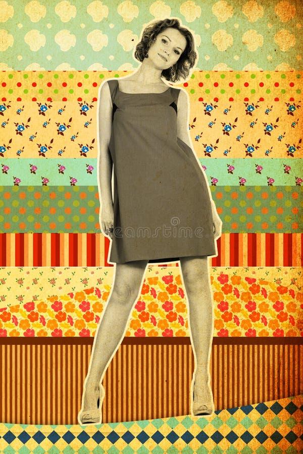 Collage de la vendimia con la mujer joven beaty imagenes de archivo