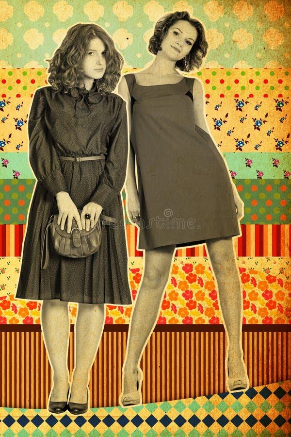 Collage de la vendimia con la mujer joven beaty foto de archivo