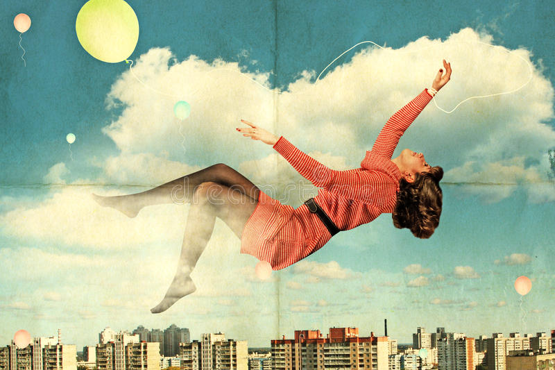 Collage de la vendimia con la mujer joven de la belleza libre illustration