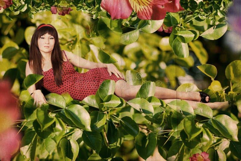 Collage de la vendimia con la mujer joven de la belleza imagenes de archivo