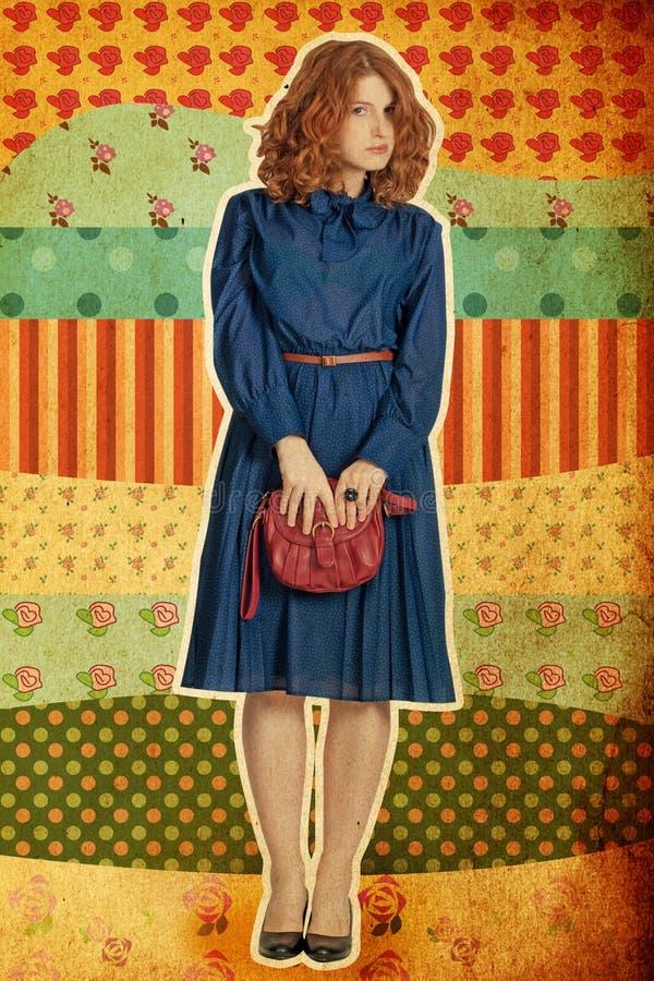 Collage de la vendimia con las mujeres jovenes beaty fotografía de archivo libre de regalías