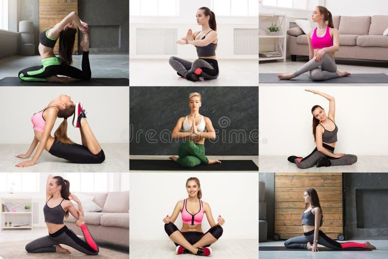Collage de la yoga practicante de la mujer joven imágenes de archivo libres de regalías