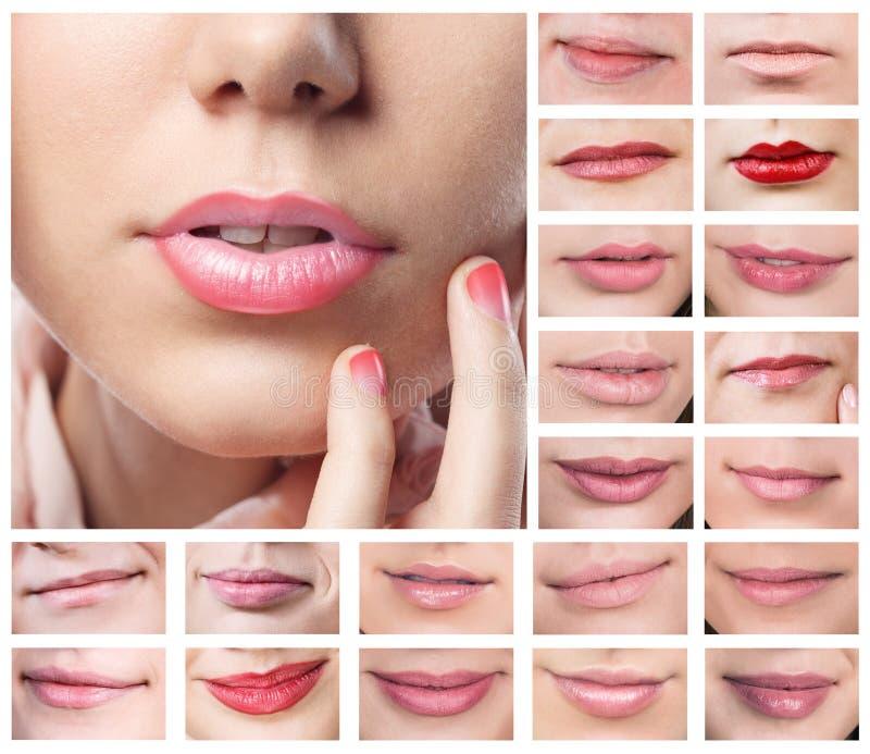 Collage de labios atractivos hermosos fotos de archivo libres de regalías